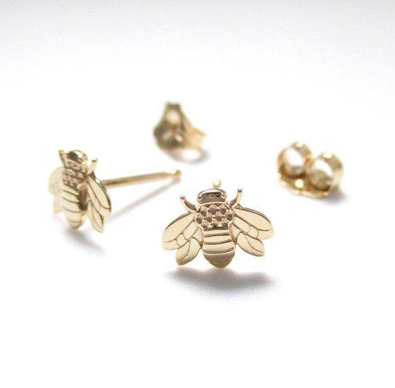 Honey Bee Earrings Stud Walnut Studs Bee Lover Gift