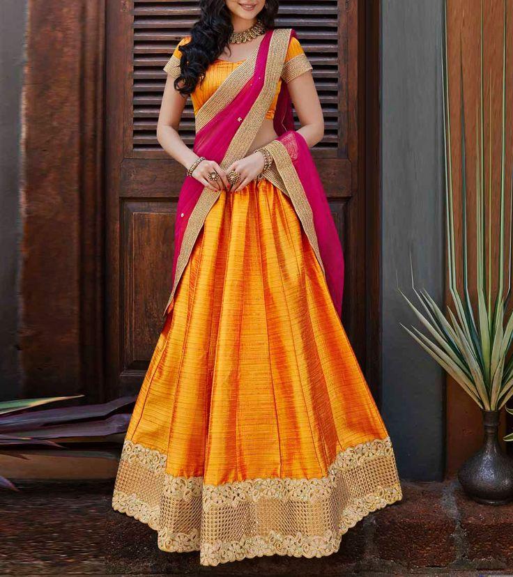 Mustard & Maroon Pink Embroidered Banarasi Silk #Lehenga Set.