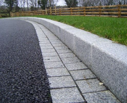 Silver Grey granite kerb and border installed with tarmac surfacing in Derrylin, Fermanagh.