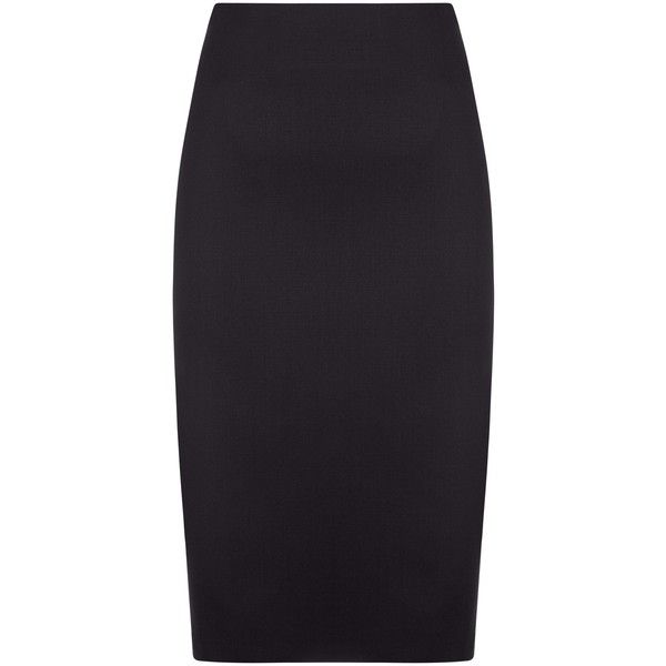 Jaeger Wool-Blend Pencil Skirt ($140) ❤ liked on Polyvore featuring skirts, midi pencil skirt, patterned maxi skirt, knee length maxi skirt, knee length pencil skirt and maxi skirts
