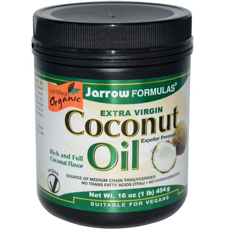 Jarrow Formulas, Extra Virgin Coconut Oil, 16 oz (454 g) $11.87 ● Jarrow Formulas Extra Virgin Organic Coconut Oil unrefined and expeller-pressed in a controlled, indoor environment. This specific process does not utilize any solvents and preserves the volatile compounds responsible for imparting the rich, familiar flavor of coconuts. Coconut oil is a source of medium chain triglycerides (MCT's).