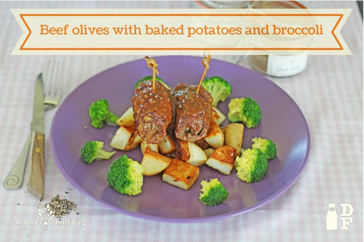 Beef olives with baked potatoes and broccoli #ThanksEmma #EFB