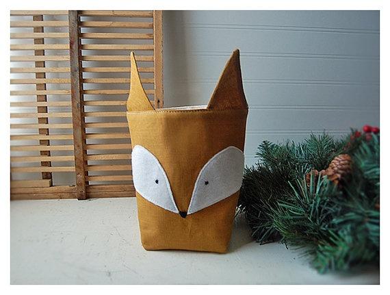 Handmade Red Fox AND a Box Natural Linen Fabric Organizer Bin Storage Basket Box Embroidery #etsy #brigade #brigteam #nursery