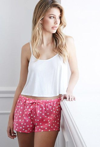 Forever 21 Polka Dot PJ Shorts | Pink/White | Your sleepwear should be just as fetching as your daywear, and these PJ shorts totally are. Sure they're uber-comfy with their elasticized drawstring waist and breezy construction, but what really pulls them to the front of the pack is their perfectly punchy polka dot print. Sitting pretty while laying low? Count us in.