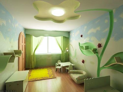 Nature Themed Kids Rooom With Green Furnishings