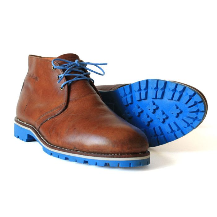 Brown Chukka Boots with White Midsoles and Baby Blue Commando Soles - Greenwich Vintage Co. Purveyors of Fine U.S. Made Vintage Goods