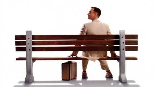 Wallpaper forrest gump, tom hanks, bench, suit, suitcase