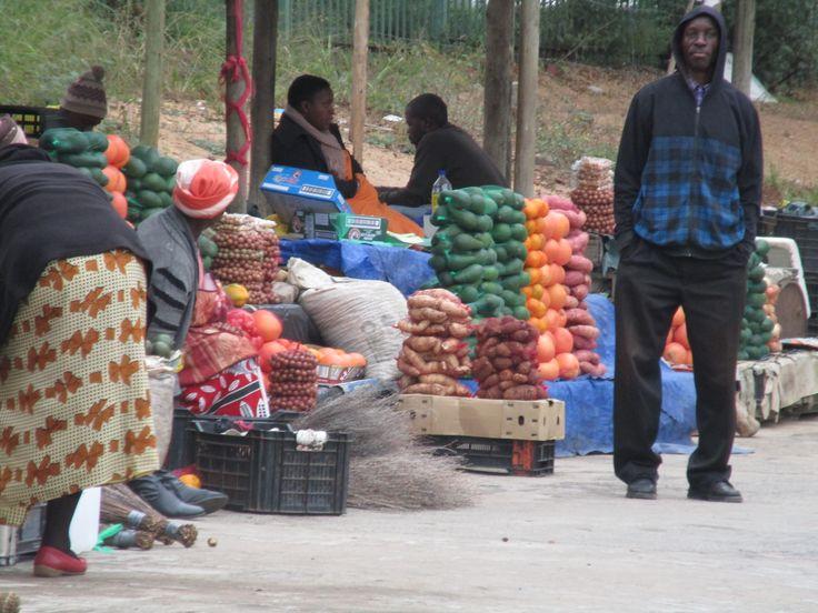 A market setup at a petrol station.
