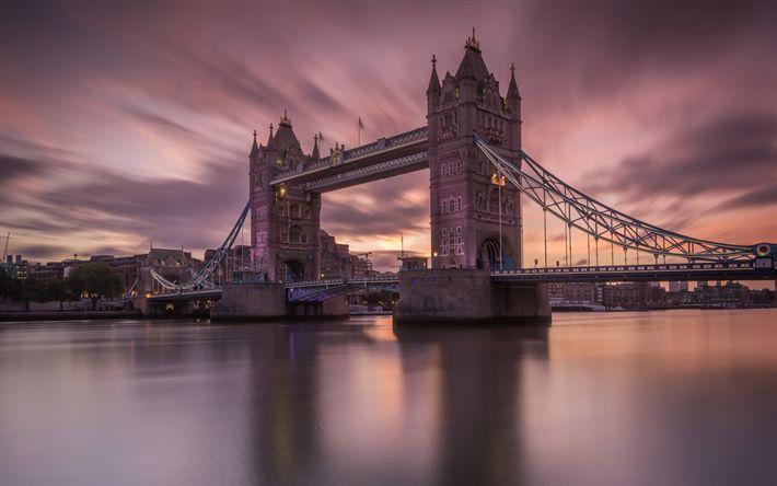 Descargar fondos de pantalla El Puente de la torre, Londres, Támesis, puesta de sol, noche, lugares de interés de Londres, reino unido