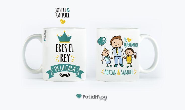 """Taza personalizada de una familia a su padre con la frase """"Eres el rey de la casa"""" + dibujos #taza #díadelpadre #felicidadespapa"""