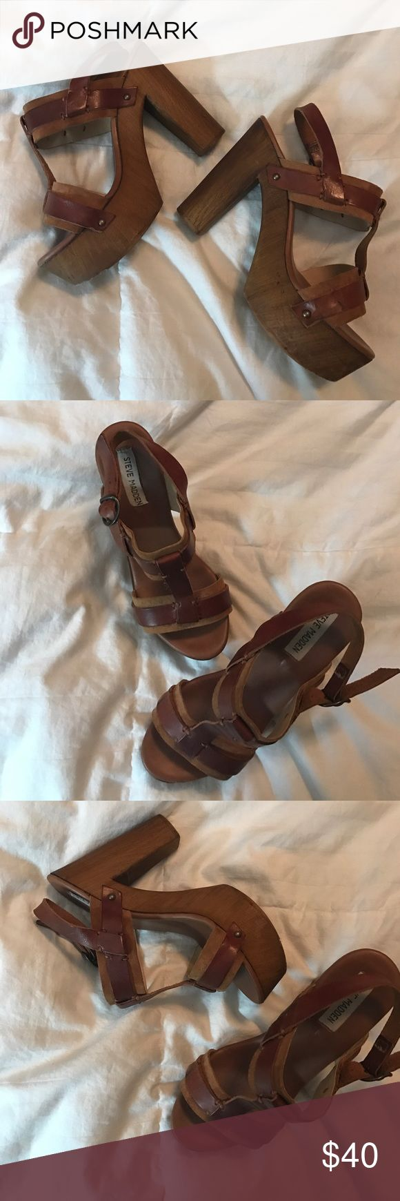 Steve Madden chunky wedges. These wedges are so cute. Great to wear with an all denim outfit. I got these last season from the Steve Madden store. Barely worn because I wear a uniform every day for work! Price is negotiable. Steve Madden Shoes Wedges