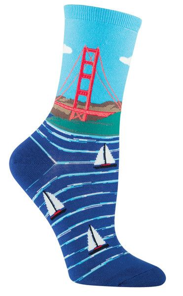 Fact: the Golden Gate Bridge is not actually golden; it is painted a color called International Orange. It stands out nicely against the blue water and sky! Fits women's shoe size 5-10.