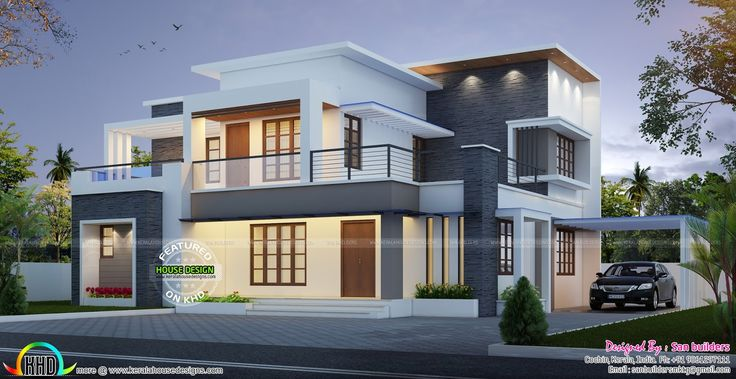 Front Elevation Of House With Flat Roof : Best images about kerala flat roofs on pinterest