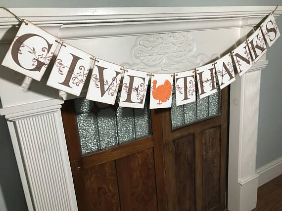 Rustic Thanksgiving Decor  Give Thanks Banner  Thanksgiving