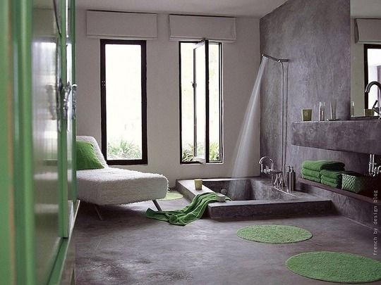 My dream bathroom. Love the open shower and the concrete.