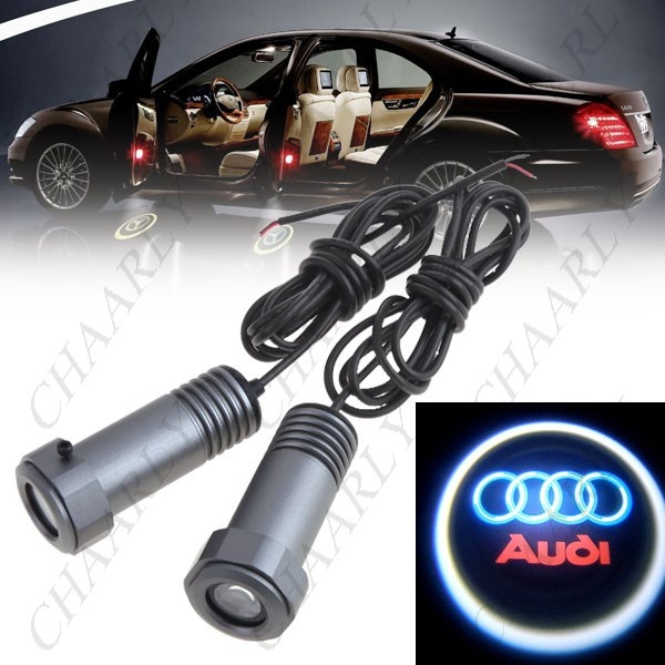 2 x LED Car Door Led Welcome Laser Projector Logo Ghost Shadow Light For AUDI.