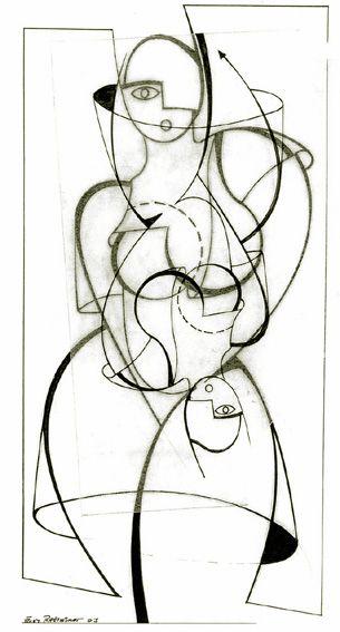 "frank Rheinboldt 2003 ""Homage to Oscar Schlemmer""  ink drawing on paper + greaseproof paper"