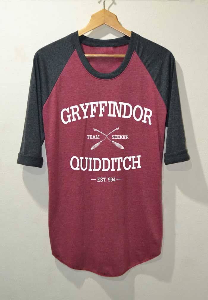 Gryffindor Quidditch Shirt Harry Potter Shirts Raglan 3/4 Sleeve Size S M L by topsfreeday on Etsy https://www.etsy.com/listing/204957328/gryffindor-quidditch-shirt-harry-potter