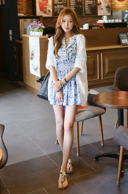 Pale Skin Short Summer Dress Flat Sandals Classy Style