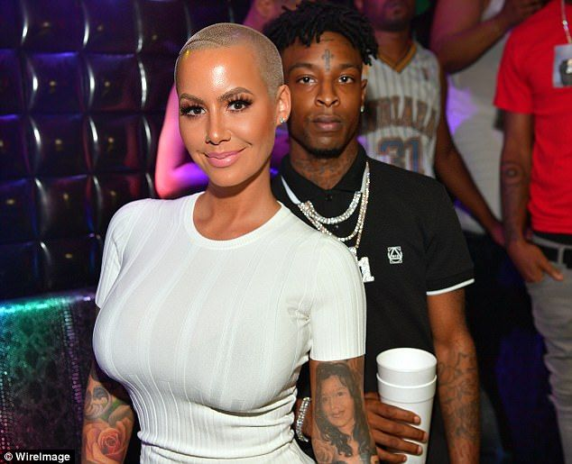 Just rosy: Amber Rose and 21 Savage showed they're going strong as she hosted a night at Medusa Lounge in Atlanta, Georgia on Saturday