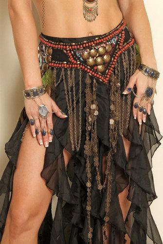 beautiful boho goth gypsy pirate goth ren tribal fusion belt  listing for belt only black under  belt is sold in separate listing.