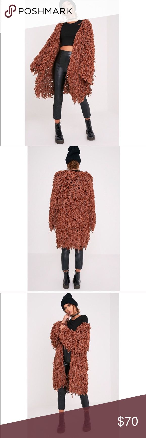 Rusty colored shag coat This extremely shaggy jacket is like new and is a show stopper for sure Jackets & Coats