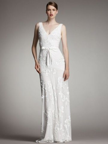 (NO.020979 )2012 Style Sheath / Column V-neck  Lace Sleeveless Floor-length Chiffon White Wedding Dress For Brides