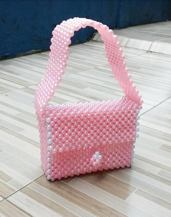 Bag Pink BagHandmade beaded Pearl Beaded gb7Yyvf6