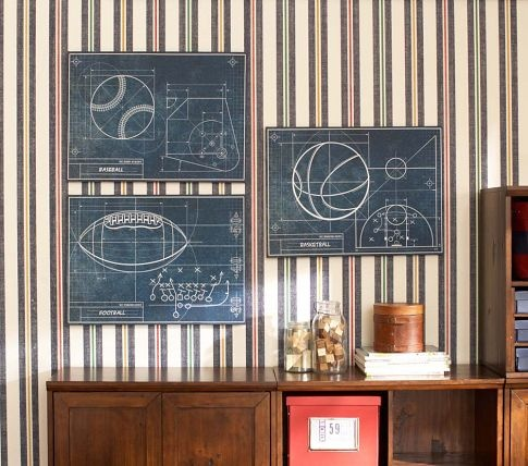 Too cool - Sports Blueprint Art from Pottery Barn Kids // I think we might need to pick these up for our boys room. :)