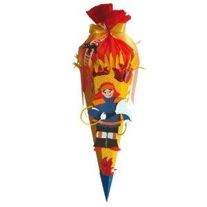 BASTELSET Schultüte Feuerwehr 85 cm mit Tüllabschluß 6 - eckig - Zuckertüte Zuckertüte rot Feuer: Amazon.de: Spielzeug