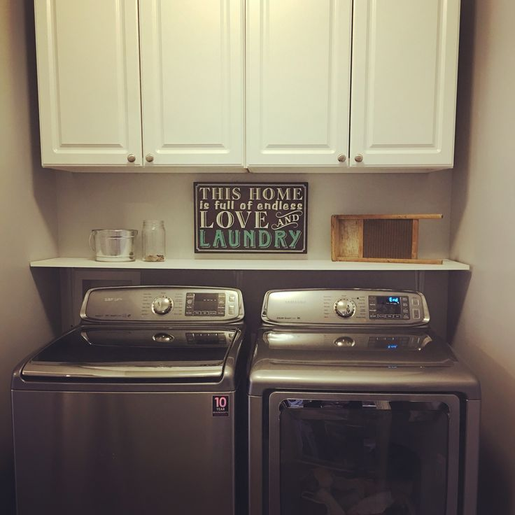 Small laundry room makeover our house pinterest washers the machine and cabinets - Small space makeovers ideas ...