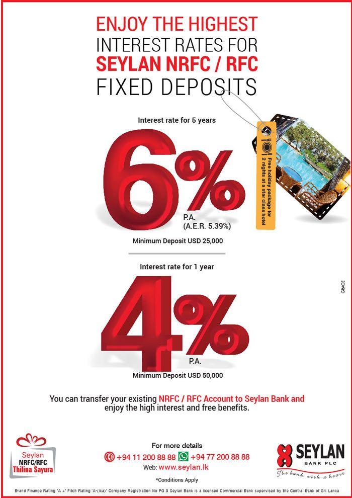 Enjoy the Highest Interest Rates for Seylan NRFC/RFC Fixed Deposits