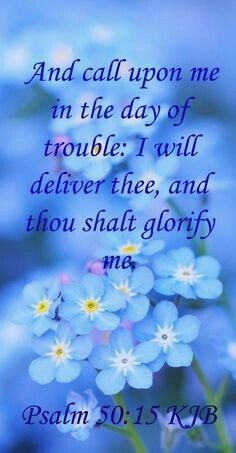 And call upon me in the day of trouble: I will deliver thee, and thou shalt glorify me. Psalm 50:15