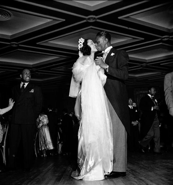 "Nat ""King"" Cole and Maria Cole dance at their wedding reception 65 years ago today, March 28, 1948, which happened to be Easter Sunday. The Coles were married at Harlem's famous Abyssinian Baptist Church by Rev. Adam Clayton Powell, Jr., the legendary Harlem congressman."