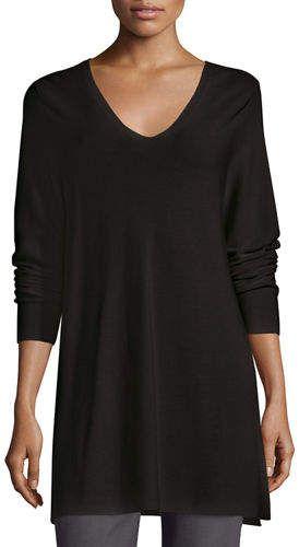 aed679c4e8f ... Plus - ShopStyle Tops. Crisp Cotton Links Long-Sleeve V-Neck Tunic   choice tunic color