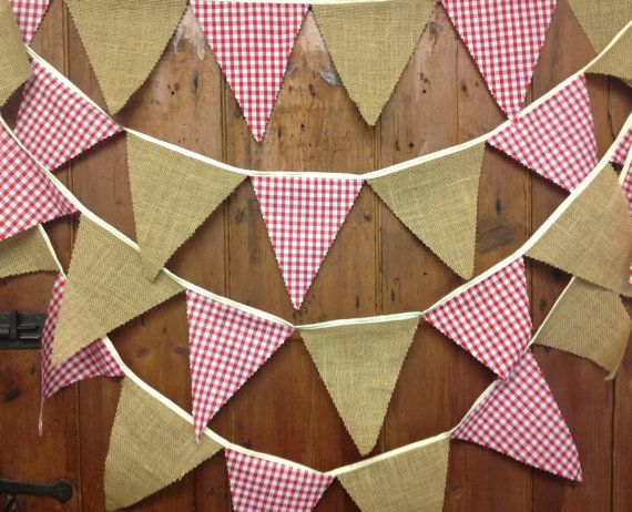 Burlap, hessian, red gingham bunting 29 flags attached side by side to 17 ft tape ideal for rustic barn dance style weddings & country fairs on Etsy, £12.97