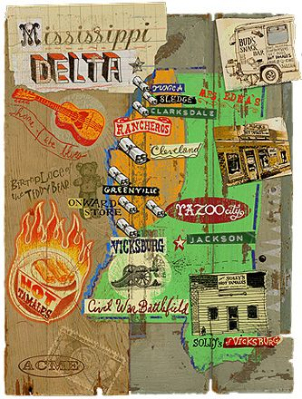 Map of Mississippi Delta by Acme Illoz