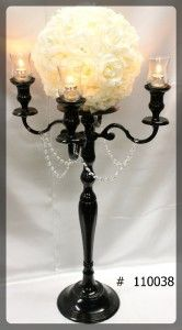 Black Candelabra 39 inch tall w plate and flower ball 4 glass votives 110038