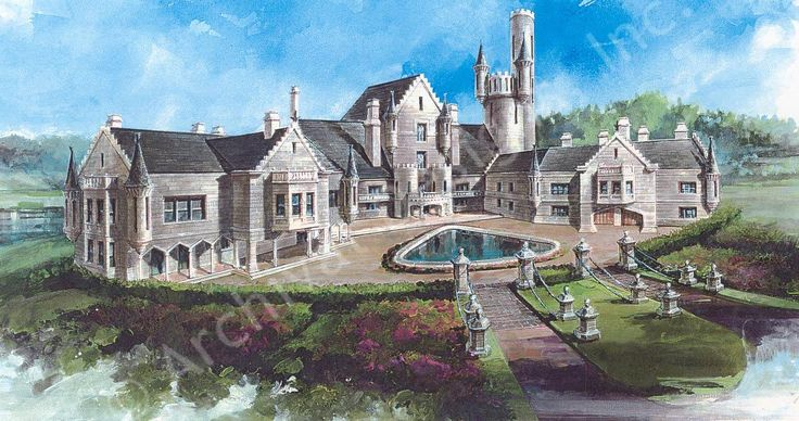 """Balmoral House Plan - 20,000+ sq feet of awesome.  This is the ultimate dream: 4 floors with two additional """"floors"""" via towers.  Lap pool, wine cellar, theatre, multistory library with observatory on 6th floor, and so much more."""