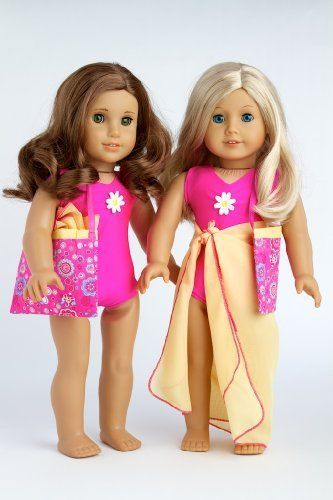 Beach Party - 3 piece outfit includes pink swimsuit, yellow wrap and beach bag - 18 Inch American Girl Doll Clothes  Price : $17.97 http://www.dreamworldcollections.com/Beach-Party-swimsuit-American-Clothes/dp/B0053V2G9Y