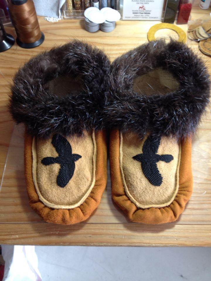 Men's Handmade Slippers with Ravens by Alaska Beadwork.