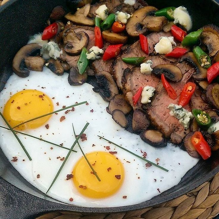 Kick starting the weekend with a spicy steak and eggs skillet. # A leftover steak with mushrooms, gorgonzola and red & green ring of fire peppers picked fresh from the garden. A sprinkle of ghost peppers on the eggs and... Good morning! @zimmysnook