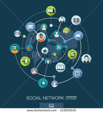 Social network connection concept. Abstract background with integrated circles and icons for digital, internet, media, connect, technology, global concepts. Vector infograph illustration. Flat design - stock vector