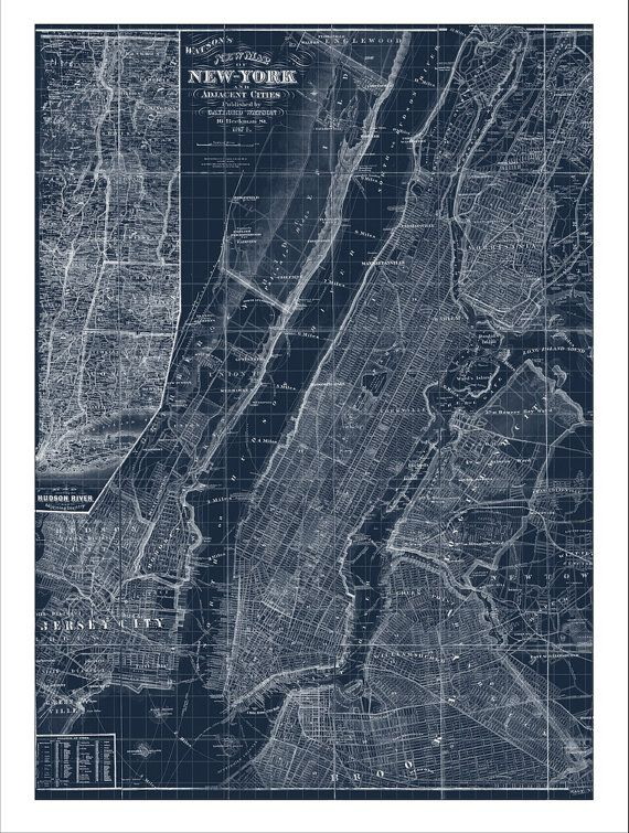 New York Map Map of New York Manhattan Map by WaterColorMaps2
