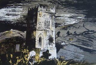 ✽ john piper - 'talland church, cornwall' - lithograph - 1944