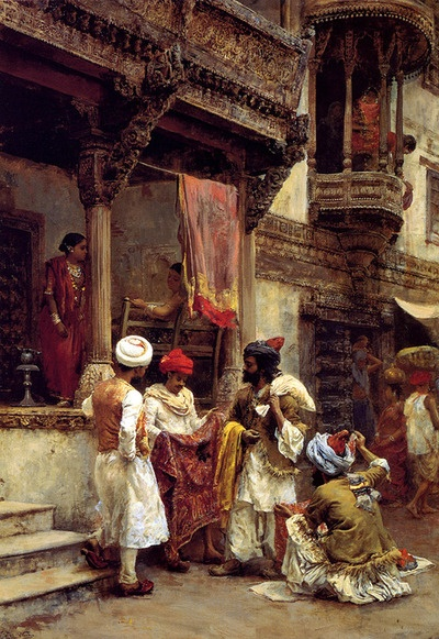 The Silk Merchants- by orientalist painter Edwin Lord Weeks  (American)  India 1849-1903)  – showing life in the streets… notice the wood work in the Architecture.. and the Persian or Iranian dress of the Merchants  orientalism