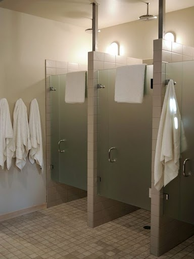 """Grandkids Basement Bathroom shower area- right off the beach. Very spa-like. Does not diminish """"must have"""" of an outdoor shower, though."""