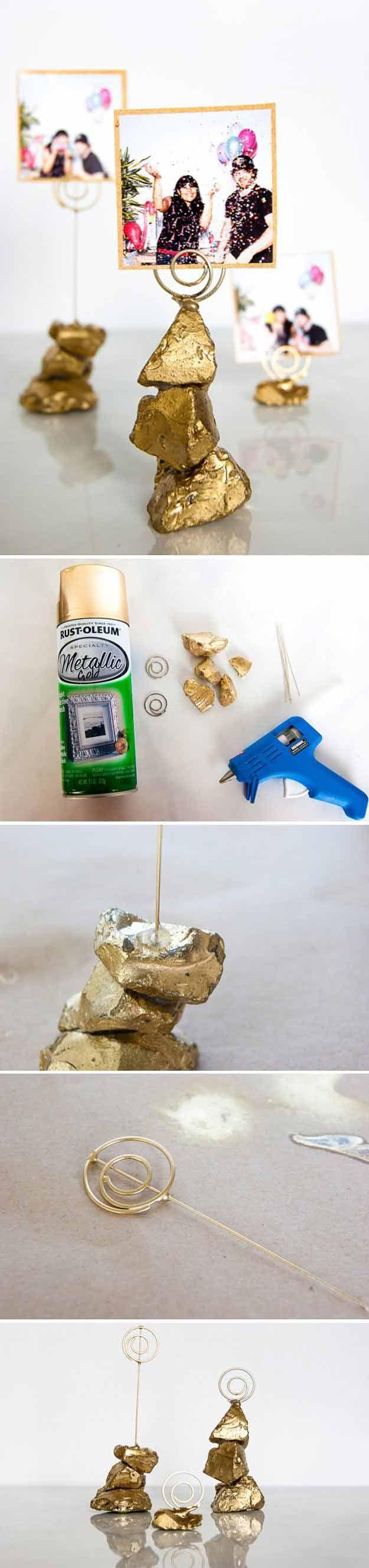 Golden Nugget Photo Holder | 24 DIY Wedding Favor Ideas