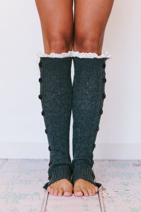 Knitted Leg Warmers Button Up Solid Body Lace By ThreeBirdNest | A Wardrobe For Autumn + Winter ...