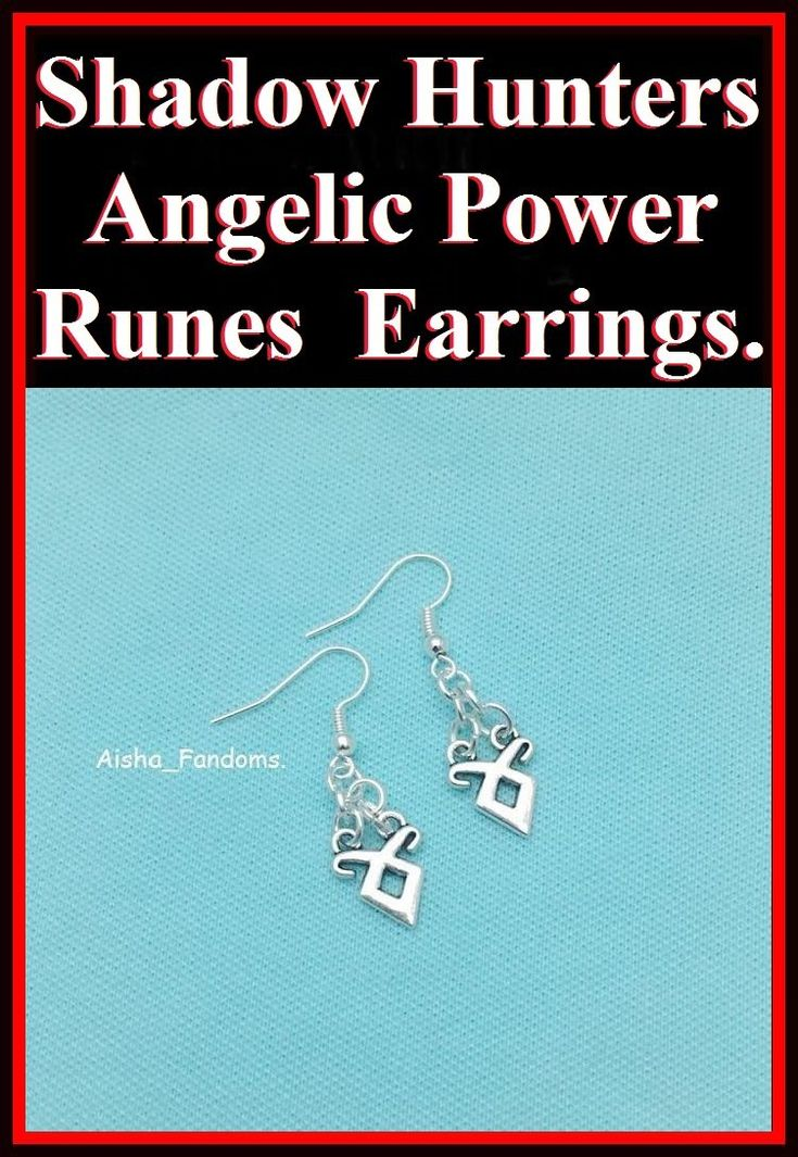 Beautiful Angelic Power Runes Charms Silver Dangle Earrings.
